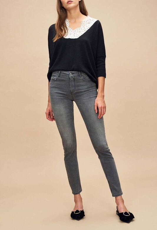 끌로디피에로 Claudie Pierlot POWER BIS - Jean slim gris delave,GRIS CHINE