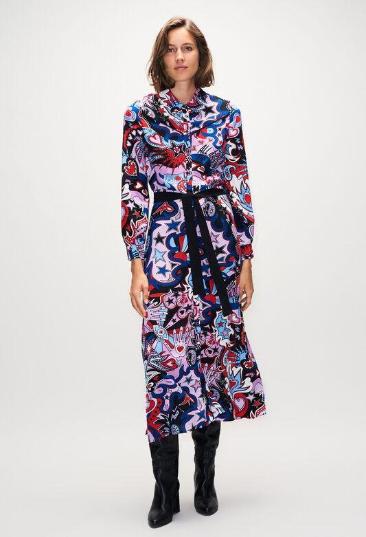 끌로디피에로 원피스 Claudie Pierlot ROSALINDAH19 - Robe Longue Imprimee Pop,PRINT