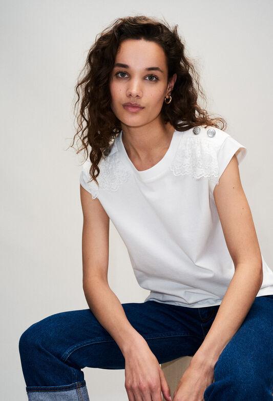 끌로디피에로 Claudie Pierlot TISHAH19 - T-shirt Coton Avec Detail Epaule,ECRU