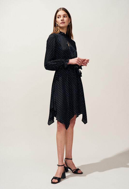 끌로디 피에로 RAHIA 원피스 Claudie Pierlot RAHIA - Robe fluide asymetrique imprime pois,NOIR