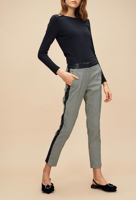 끌로디피에로 Claudie Pierlot PANORAMIC - Pantalon pied de coq bande sporty,MULTICO