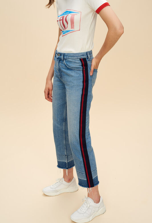 끌로디피에로 Claudie Pierlot PLAYER - Jean cropped avec bandes sporty,JEAN