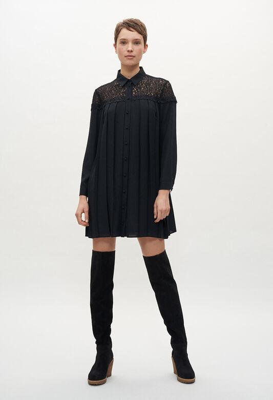 끌로디피에로 원피스 Claudie Pierlot Robe noire plisse,NOIR