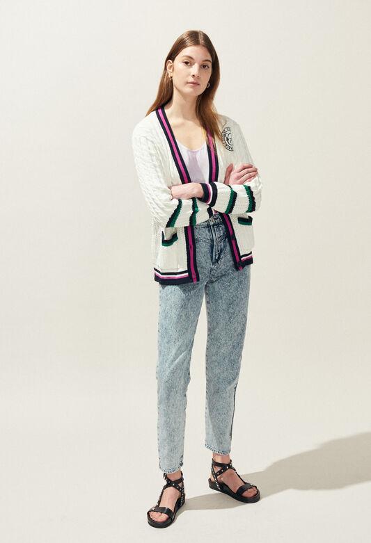 끌로디피에로 Claudie Pierlot MYBLUE - Cardigan oversize A bandes contrastees,ECRU