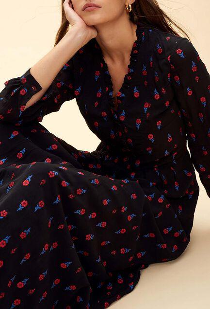 끌로디피에로 Claudie Pierlot RIPIENO - Robe longue a fleurs brodees,NOIR