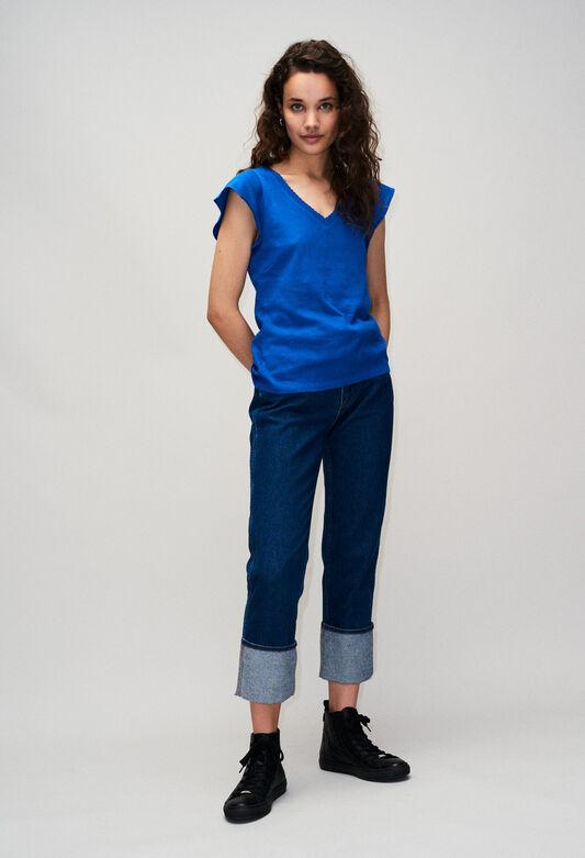 끌로디피에로 Claudie Pierlot TRESSEH19 - T-shirt Col V,BLEU ROI