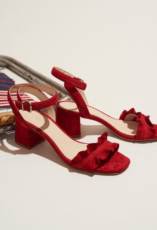 끌로디피에로 Claudie Pierlot ANVERS TER - Sandales A talon rouge detail volant,ROUGE
