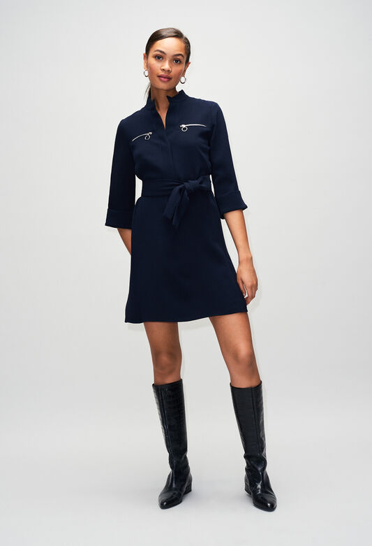 끌로디 피에로 원피스 Claudie Pierlot REDH19 - Robe Ceinturee Detail De Zip,MARINE