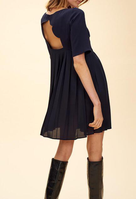끌로디피에로 Claudie Pierlot RABAN - Robe plissee detail coquille,MARINE