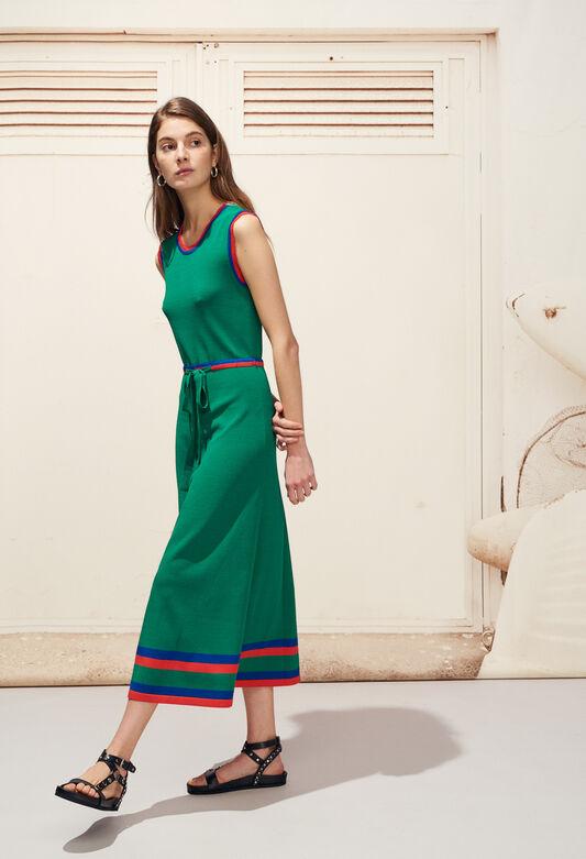 끌로디 피에로 Claudie Pierlot MELISSE - Robe en maille ceinturee bandes colorees,VERT VEGETAL