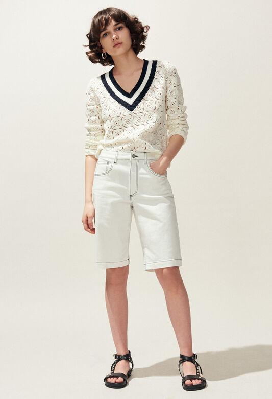 끌로디피에로 Claudie Pierlot EMY - Bermuda en jean surpiqures contrastees,ECRU