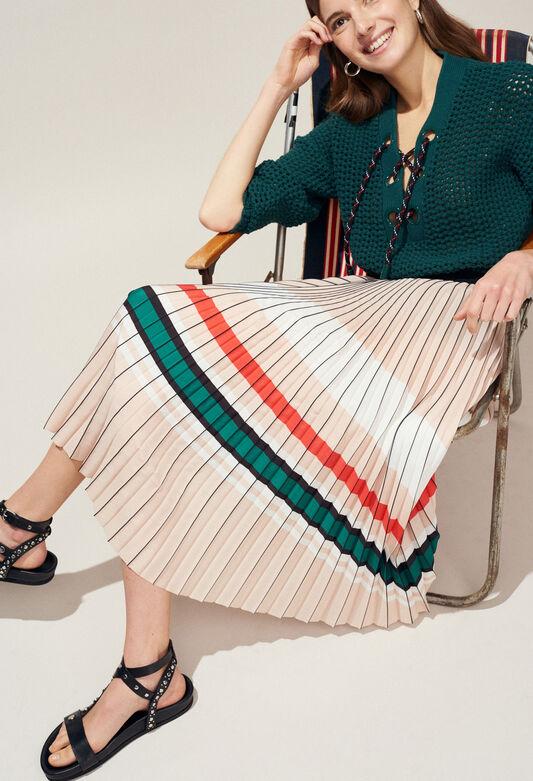 끌로디피에로 Claudie Pierlot SISTER - Jupe plissee bandes colorees,VANILLE