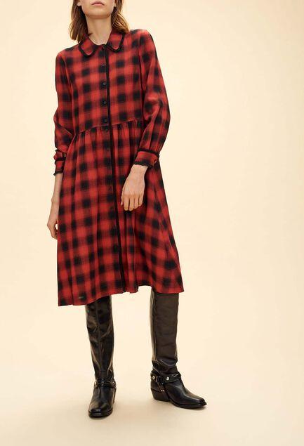 끌로디피에로 Claudie Pierlot ROANNE - Robe longue a carreaux bucheron,MULTICO