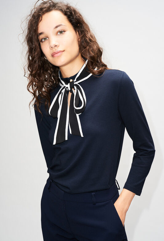끌로디피에로 리본 티셔츠 Claudie Pierlot TRANSLATEH19 - T-Shirt Col NOEud,MARINE