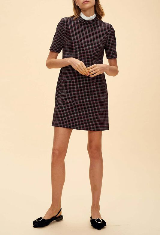 끌로디피에로 Claudie Pierlot RETOUR - Robe droite en tweed carreaux,MULTICO