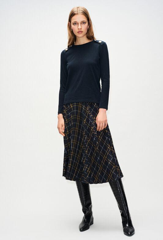 끌로디피에로 Claudie Pierlot TOMBOYH19 - T-Shirt Manches Longues Boutons Epaules,MARINE