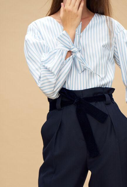 끌로디 피에로 BAY 오버사이즈 탑  Claudie Pierlot BAY - Top raye manche oversize, BLEU CIEL