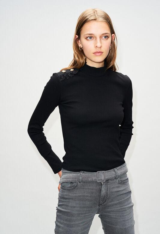 끌로디피에로 Claudie Pierlot TRICHH19 - T-Shirt Manches Longues,NOIR