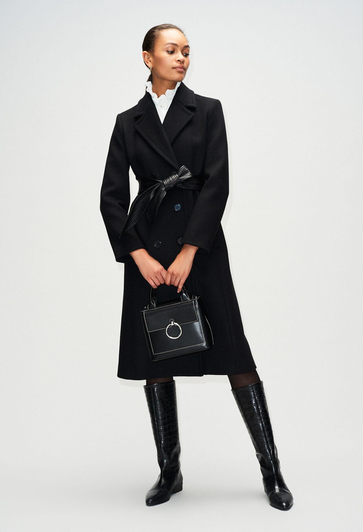 Manteau cintré ceinture en cuir