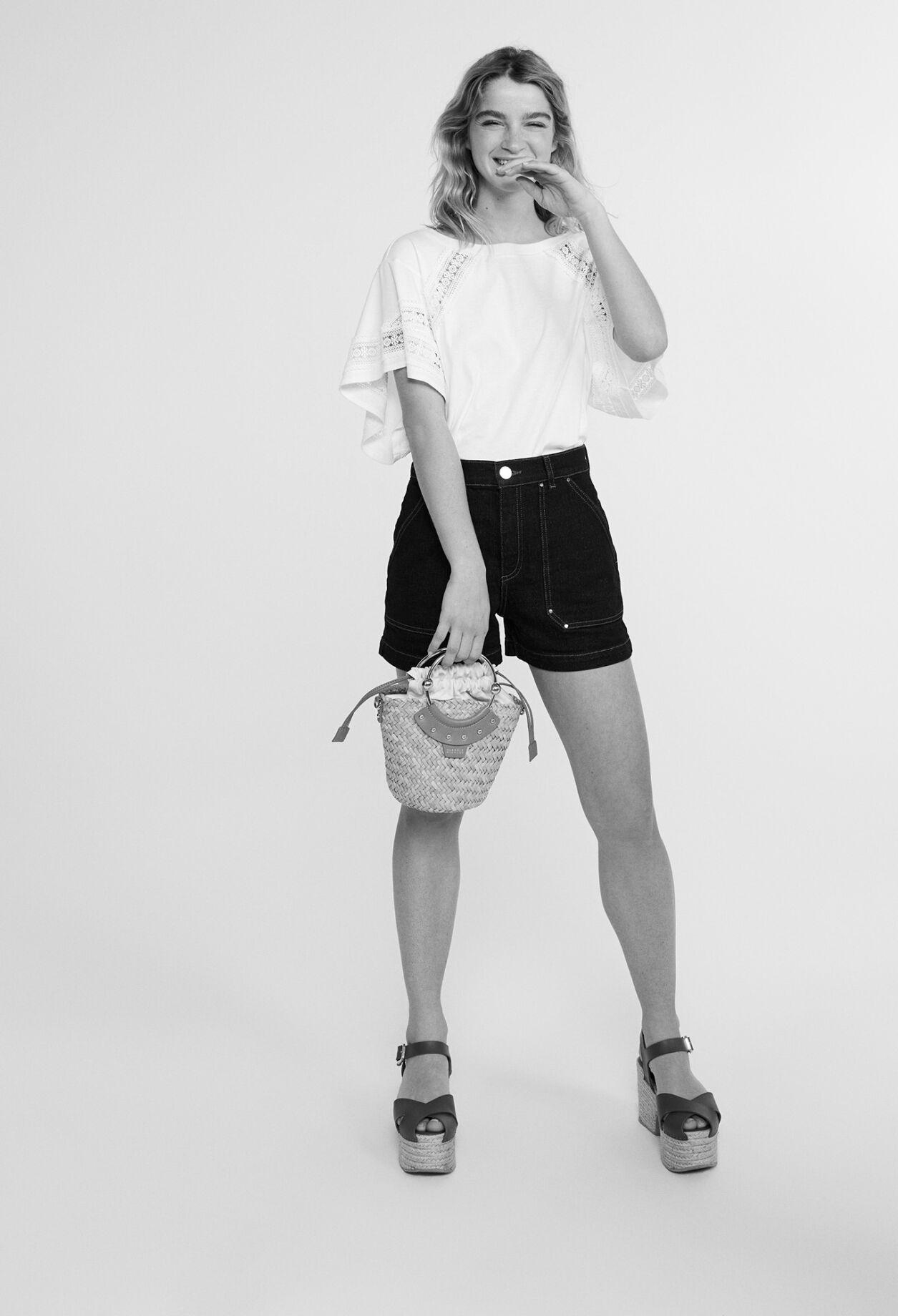 끌로디피에로 티셔츠 Claudie Pierlot T-shirt court en coton biologique,ECRU