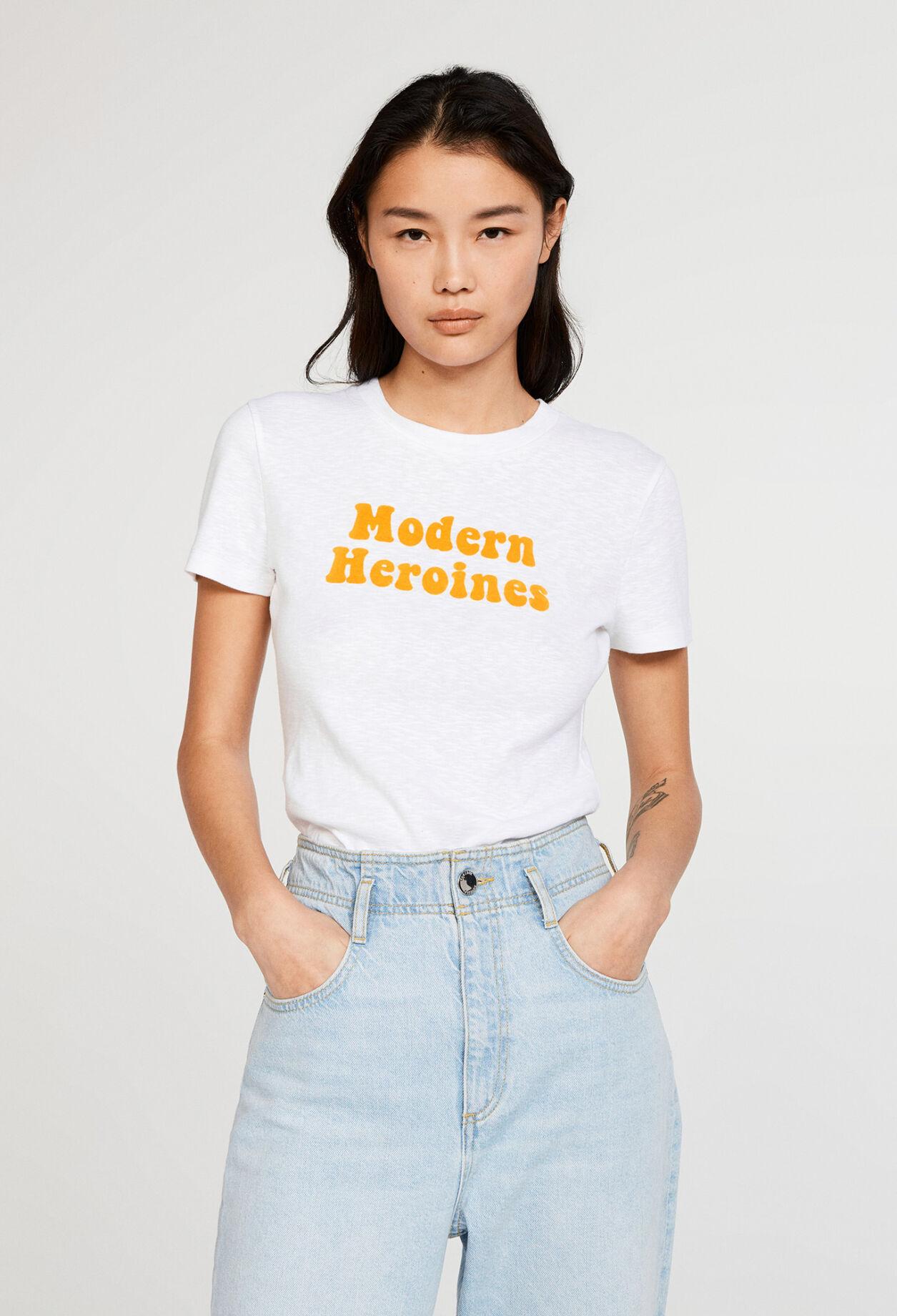 끌로디피에로 티셔츠 Claudie Pierlot T-shirt srigraphi en coton biologique,ECRU