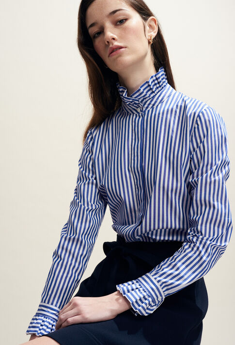 COLOMBE RAYEE : Tops et Chemises couleur Indigo