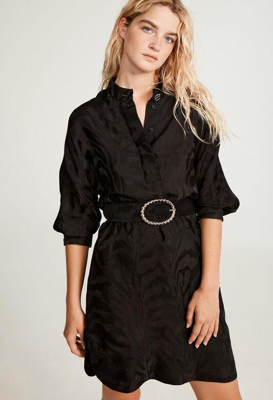 끌로디 피에로 원피스 Claudie Pierlot Robe noire satine,NOIR