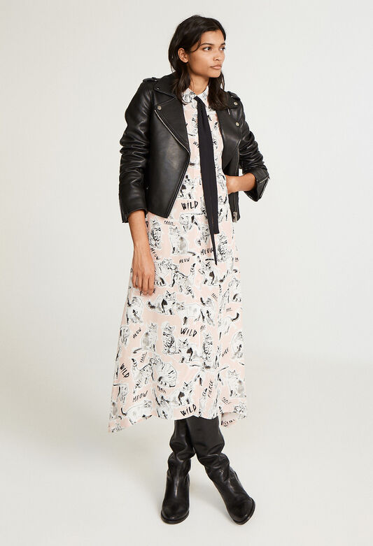 끌로디 피에로 고양이 프린팅 타이 원피스 (김사랑 착용) Claudie Pierlot Robe-chemise imprime,PRINT CLAIR