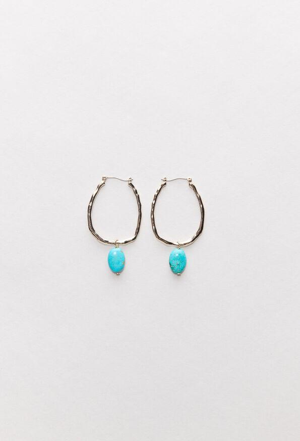 Boucles d/'oreilles longues multi-cha\u00eenes bronze verre turquoise LOUCIYA option Clips