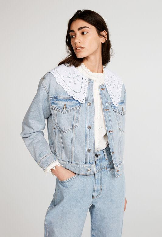 끌로디 피에로 청자켓 Claudie Pierlot Veste en jean en coton biologique,JEAN