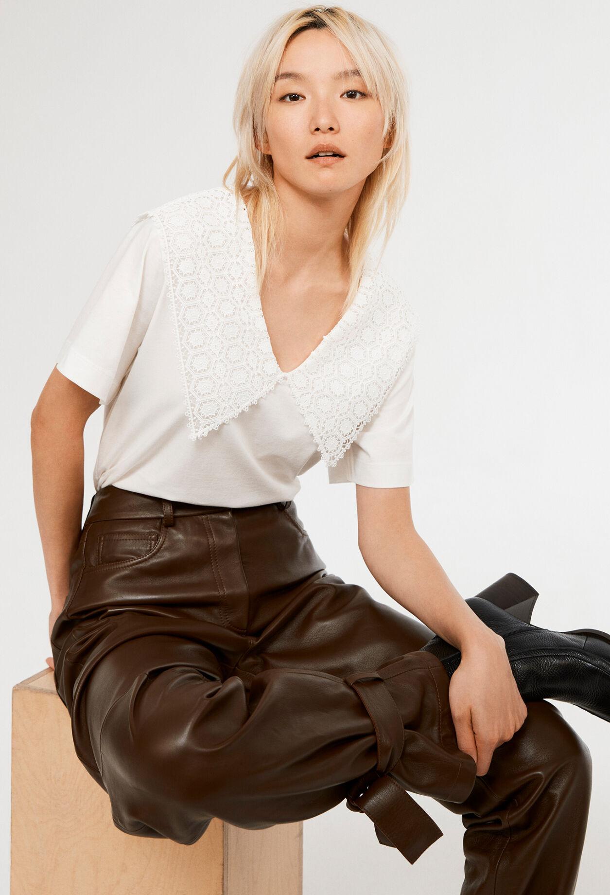 끌로디피에로 티셔츠 Claudie Pierlot T-shirt A col dentelle,ECRU