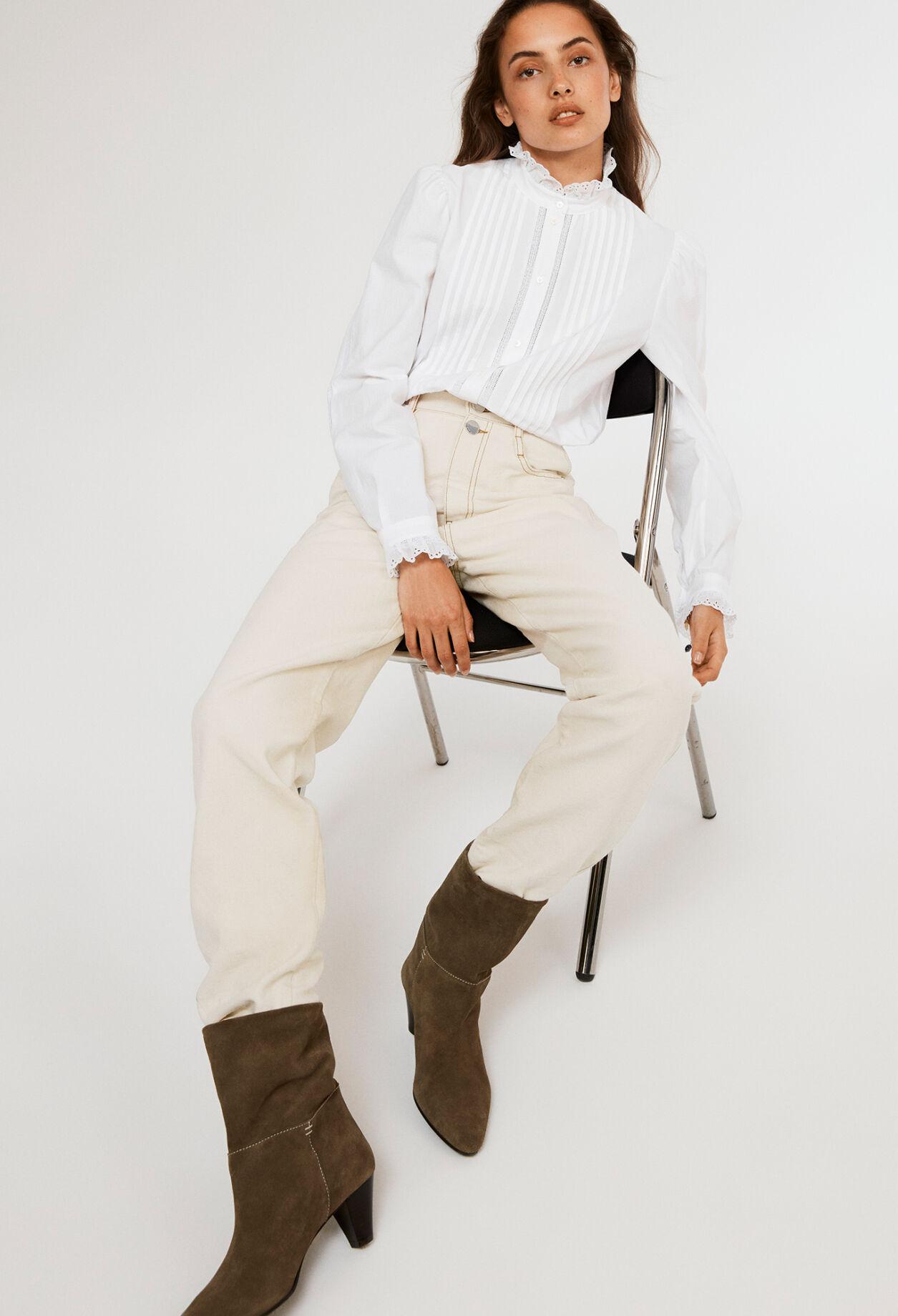끌로디피에로 셔츠 Claudie Pierlot Chemisier blanc en coton biologique,BLANC