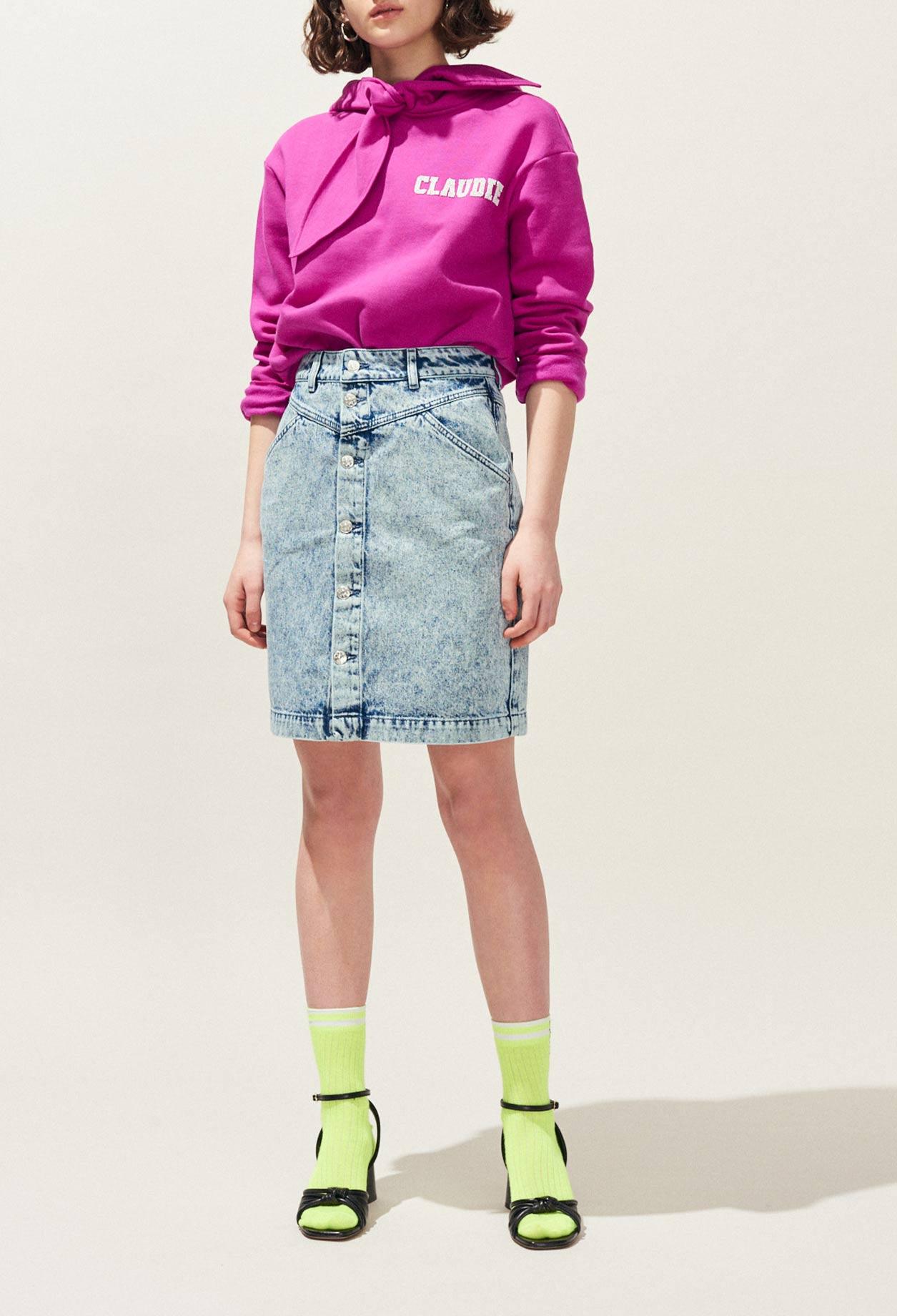 3c877e833c22db Jupe en jean tie&dye à pressions