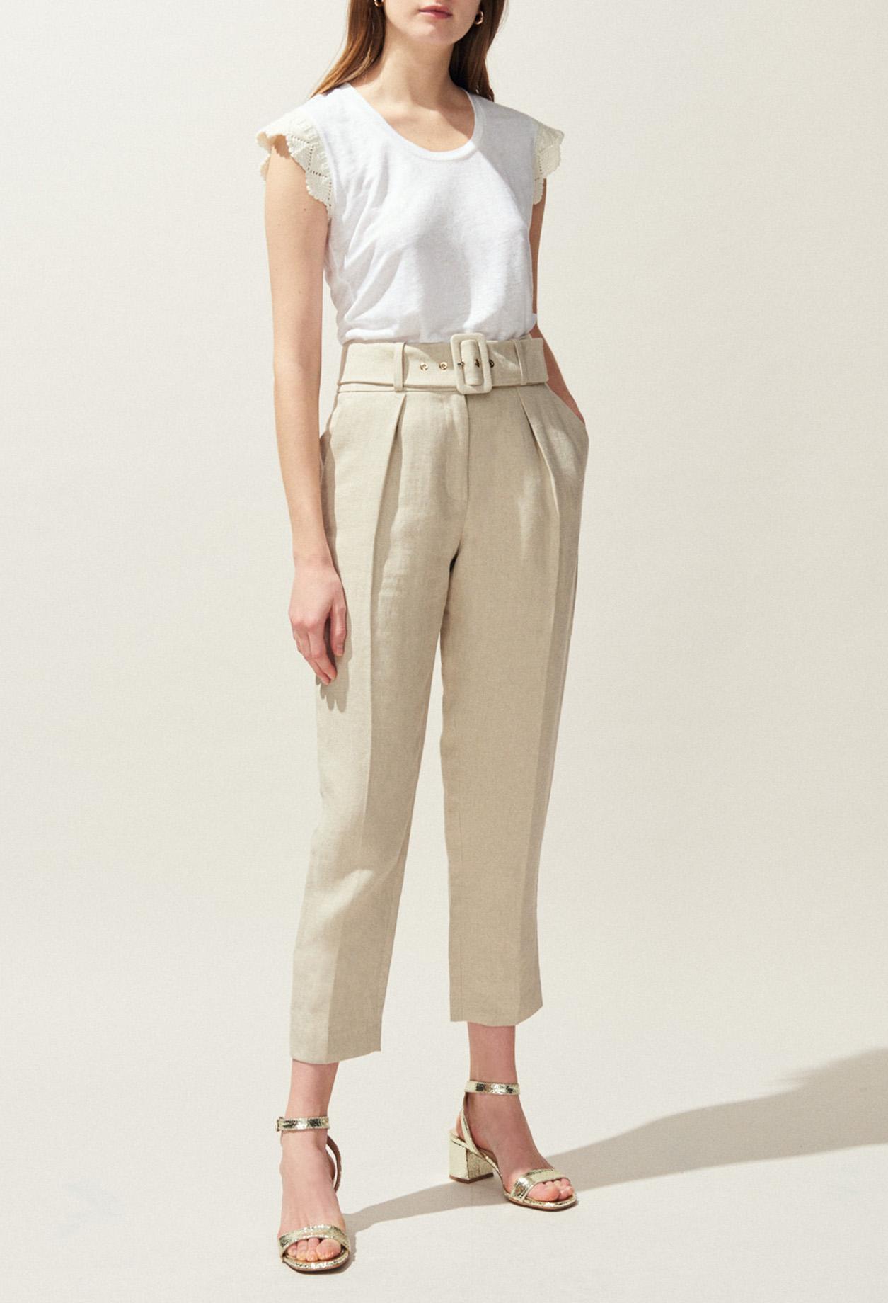 Pantalon Taille Haute Ceinturé En Lin by Claudie Pierlot
